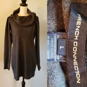 FRENCH CONNECTION Grey Cowlneck Sweater Dress